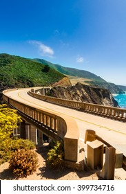 Bixby Creek Bridge on Highway #1 at the US West Coast traveling south to Los Angeles - Portrait Format
