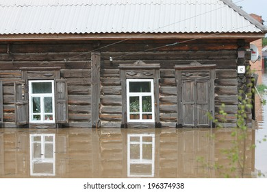 BIYSK, ALTAI  KRAY-JUNE 1: Flood water on the streets on June 01.2014 in Biysk, Altai krai. The city declared a state of emergency as floods tore into the city.