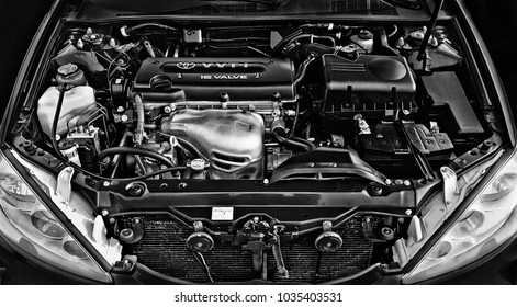 BIYSK, RUSSIA - 1 MARCH 2018: Engine Toyota Camry, 2005 close-up