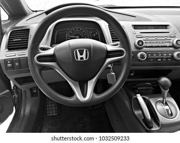 BIYSK, RUSSIA - CIRCA, FEBRUARY 2018: The front panel of the car Honda Civic, 2008. Salon interior