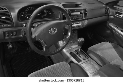BIYSK, RUSSIA - CIRCA, FEBRUARY 2018: The panel of the car Toyota Camry, 2004, interior.