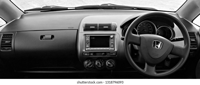BIYSK, RUSSIA - CIRCA, FEBRUARY 2019: Honda Fit, 2002, is Japanese car manufacturer Honda. Interior.