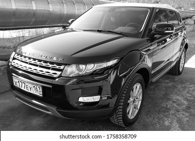 BIYSK, RUSSIA-MAY 02, 2020: Luxury car Land Rover Range Rover Evoque, 2012, parked outside.