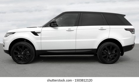 BIYSK, RUSSIA-SEPTEMBER 06, 2019: Luxury car Land Rover Range Rover Sport, parked outside.