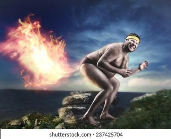 Bizarre naked man farts flame