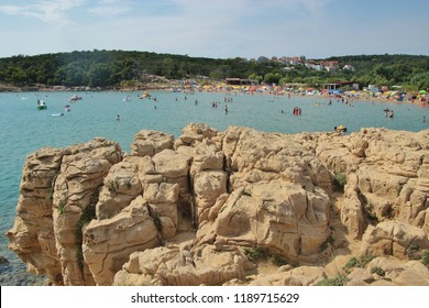 Bizarre sandstone rock formations and Livacina beach. Near the town Lopar, on Rab island, Croatia, South-east Europe.