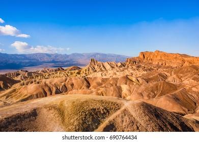 The bizarre view of Zabriskie Point, Death Valley National Park. California.