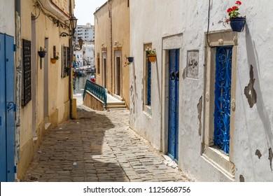 BIZERTE / TUNISIA - JUNE 2015: Narrow street in medina of Bizerte, Tunisia