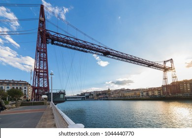 The Bizkaia suspension transporter bridge (Puente de Vizcaya) in Portugalete, Spain. The Bridge crossing the mouth of the Nervion River.