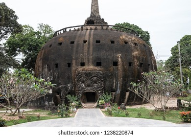 The bizzare Buddha Park or Xieng Khuan in Laos, it has many statues inside. Taken in Vientiane, Laos