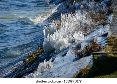 Bizzare frozen sculptures in winter at lake constance