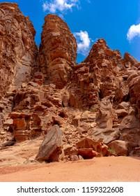 Bizzare shaped rocks in Wadi Rum desert. Jordan