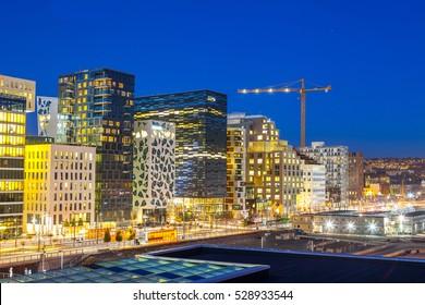 Bjorvika business quarter (Barcode). Night cityscape.