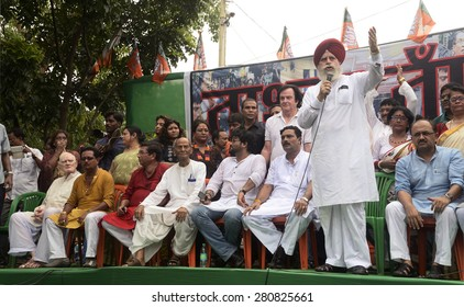 BJP MP S. S. Ahluwali addressing BJP party worker on the occasion of BJP founder member Syama Prasad Mukherjee's birth anniversary on June 23, 2014 in Calcutta, India.