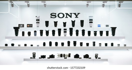 BKK - Dec 2, 2018 : Sony camera and lens collection in the display including Sony alphas, G master lens, G lens and Zeiss lens. Sony is famous for full-frame mirrorless interchangeable-lens cameras.