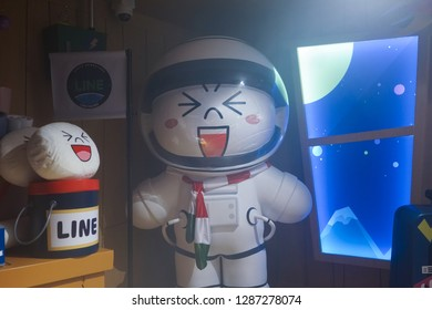 BKK - Dec 22, 2018: A photo of Moon as a spaceman. Moon is ine friends characters in line village. Line village Bangkok is the first indoor theme park by Line,1of the biggest chat applications in Asia