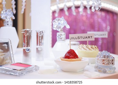 BKK - June 6, 2019 : A photo of Jillstuart press conference with its new product collection announcement and mini dessert, selective focus on strawberry.