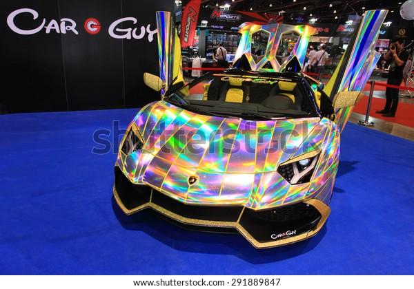 Bkk Thailandjune 24 Rainbow Lamborghini Displayed Stock