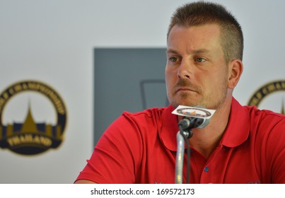 BKK-DEC10: Henrik Stenson in action during press conference Thailand Golf Championship at Royal Thai Navy Convention Center on December10,2013 in Thailand.