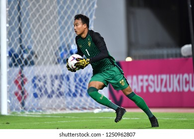 BKK,THA-DEC.5: Goalkeeper Chatchai Bootprom of Thailand in action during the AFF Suzuki Cup 2018 between Thailand and Malaysia at Rajamangala stadium on December 5, 2018 in Bankok, Thailand.