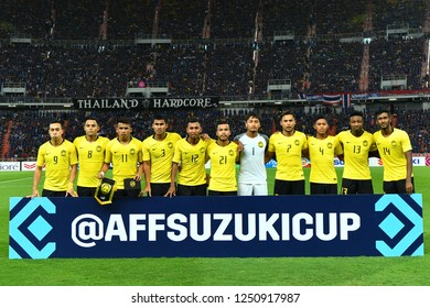 BKK,THA-DEC.5: Malaysia national team line-up poses during the AFF Suzuki Cup 2018 between Thailand and Malaysia at Rajamangala stadium on December 5, 2018 in Bankok, Thailand.