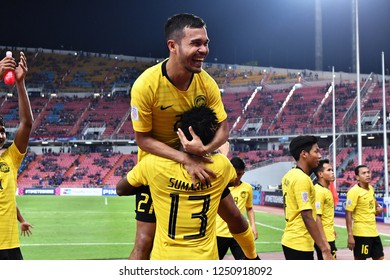 BKK,THA-DEC.5: Malaysia players celebrate after the match during the AFF Suzuki Cup 2018 between Thailand and Malaysia at Rajamangala stadium on December 5, 2018 in Bankok, Thailand.