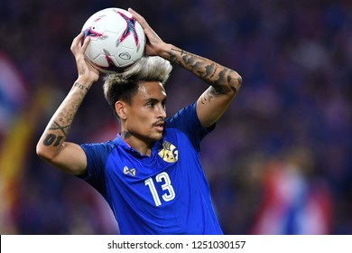 BKK,THA-DEC.5: Philip Roller(13) of Thailand in action during the AFF Suzuki Cup 2018 between Thailand and Malaysia at Rajamangala stadium on December 5, 2018 in Bankok, Thailand.
