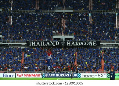 BKK,THA-DEC.5: Thailand supporter cheer up during the AFF Suzuki Cup 2018 between Thailand and Malaysia at Rajamangala stadium on December 5, 2018 in Bankok, Thailand.