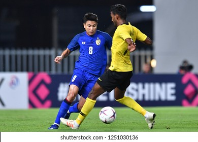 BKK,THA-DEC.5: Thitiphan Puangjan(8) of Thailand in action during the AFF Suzuki Cup 2018 between Thailand and Malaysia at Rajamangala stadium on December 5, 2018 in Bankok, Thailand.