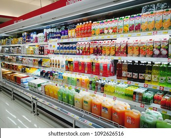 BKK,Thailand - January 02, 2018 : Shopping fresh fruits, food, beverages in a refrigerator at super market.