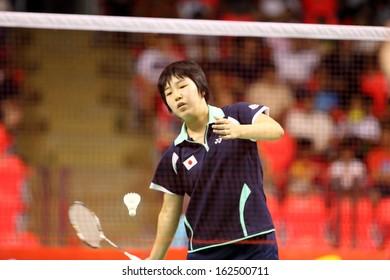 BKK,THAI-NOV3:Aya Ohari of Japan. She won in WS Final match during badminton SCG BWF World Junior Championships 2013 at Indoor national stadium Hua Mak on November 3, 2013 in Bangkok, Thailand.