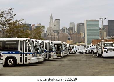 Bkln bus depot with NYC skyline