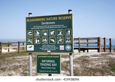 BLAAUWBERG WESTERN CAPE SOUTH AFRICA - APRIL 2016 - Blaauwberg Nature Reserve information notice board and informal trading bay at this coastal location north of Cape Town