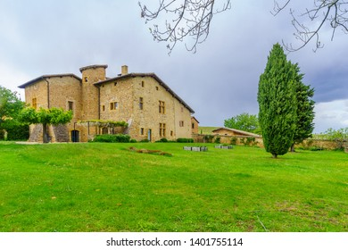 Blace, France - May 05, 2019: View of the chateau de Pravins, in Beaujolais, Rhone department, France
