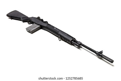 Black .303 caliber M1A rifle with a high-capacity clip isolated in white.
