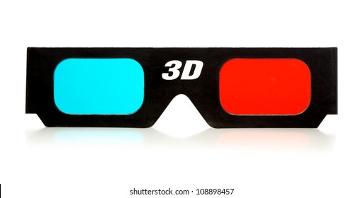 black 3d eyeglasses isolated on white background