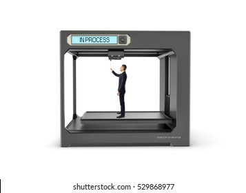 Black 3d printer finishing printing a businessman in the black suit, isolated on the white background. Additive manufacturing. Creating products of plastics.