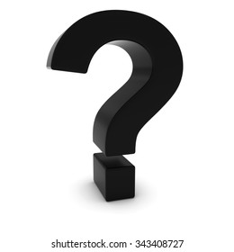 Black 3D Question Mark Isolated on white with shadows