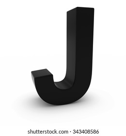 Black 3D Uppercase Letter J Isolated on white with shadows