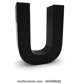 Black 3D Uppercase Letter U Isolated on white with shadows