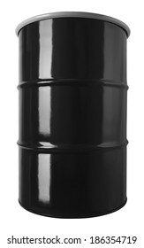 Black 55 Gallon Oil Drum Barrel Isolated on White Background.