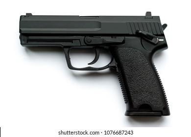 black 9 mm fire arm hand gun - gun or pistol