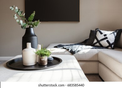 Black accent decor in a luxury family living room