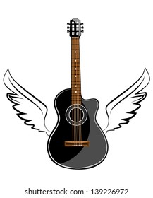 Black acoustic classic guitar on white wings