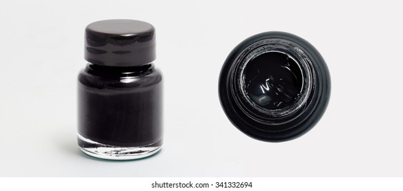 black acrylic color bottle side and top view white isolated with clipping path