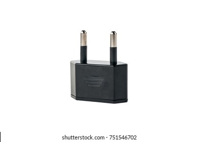 Black adapter for American outlet on white isolated background