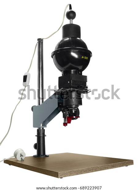 Black Adjustable Photographic Enlarger Sidefront View Stock Photo