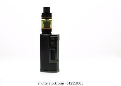 Black and advanced e-cigarette vaping box mod isolated