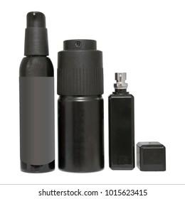Black aerosol spray set. Isolated bottles of deodorant or perfume template on white background, closeup.