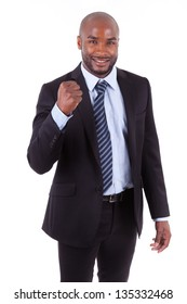 Black African American business man with  clenched fist, isolated on white background - African people